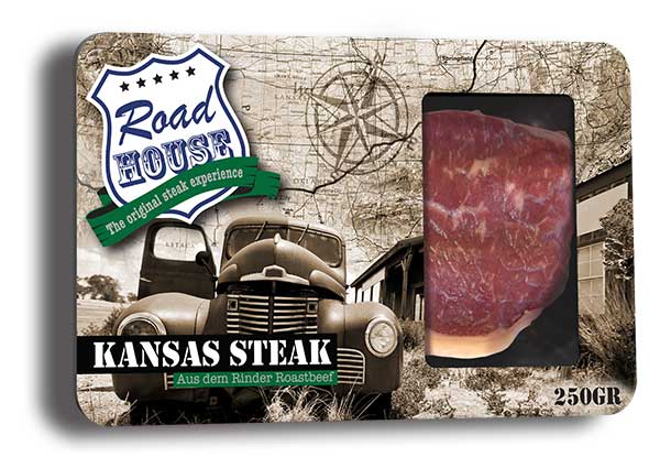 Verpakkingsontwerp vlees Roadhouse-Steak