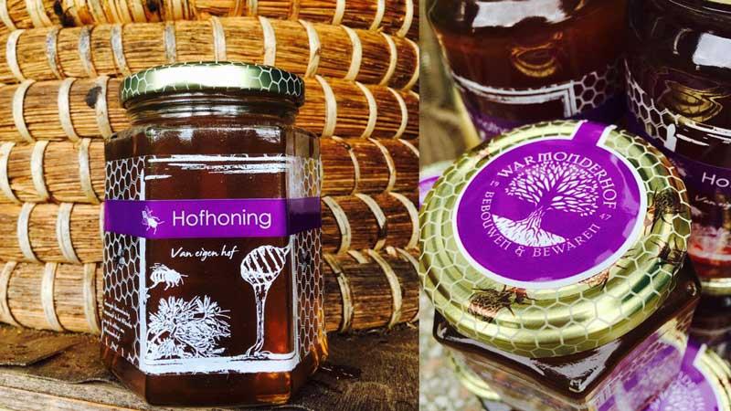 Verpakkingsontwerp etiket honingpotje